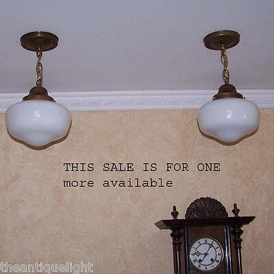 814 c.30's Brass SchoolHouse Ceiling Light Fixture  Sale is for one more avail