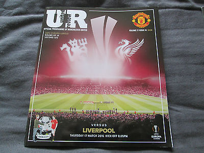 MANCHESTER UNITED V LIVERPOOL PROGRAMME 17/03/2016 MINT CONDITION UEFA Europa