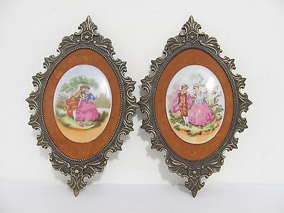 Pair of Vintage Brev VCR Italy Ceramic Lovers Wall Plaques Velvet