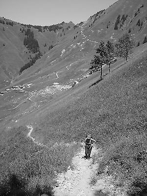 """Alps hiker A4 12""""x8"""" black and white photo print. Colour/larger sizes available"""