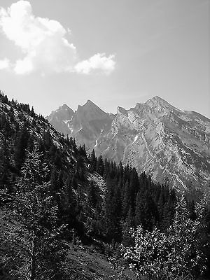 """Craggy Alps A4 12""""x8"""" black and white photo print.Colour/larger sizes available"""