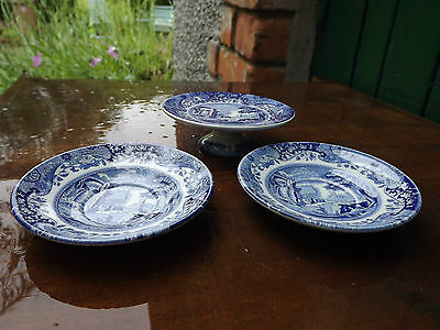 Vintage Copeland Spode Blue Italian pair of saucer dishes & small footed comport