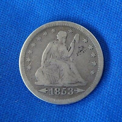 1853 Arrows And Rays Seated Liberty Quarter Coin