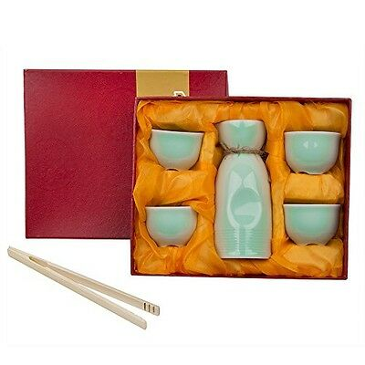 Ankoow 5 Piece Japanese Sake Cup Set ( + Bamboo Cup Clip ) Celadon Hand Painted