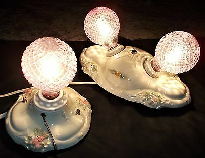 TWO VTG Lighting 1930s VICTORIAN Porcelain Light Fixtures by PORCELIER~ROSES~Exc