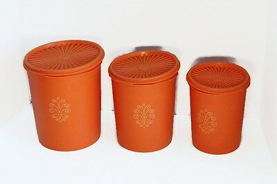 Set of 3 Orange VINTAGE TUPPERWARE Canisters with Snap Tight Lids