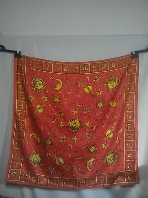 Zodiac Ladies Vintage Scarf with the Moon Stars and Planets in Red and Gold