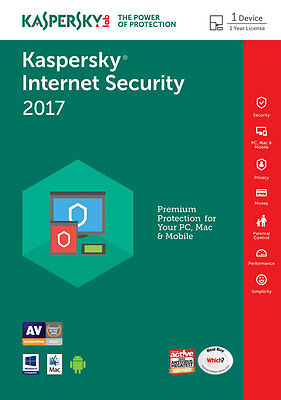 Kaspersky Internet Security 2017 1 PC / User / Devices / 1 Year