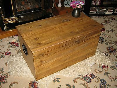Waxed Wooden Storage Box Chest Trunk Coffee Table Rustic