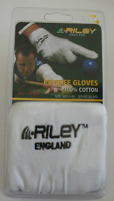 RILEY REFEREE GLOVES * 1OO% COTTON FOR SNOOKER OR POOL * NEW medium size