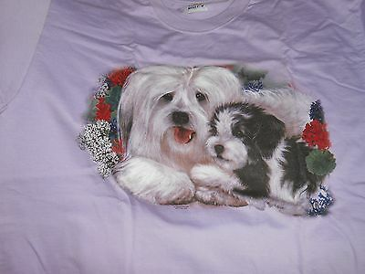 Havanese Dog With Pup T Shirt Size Large Purple