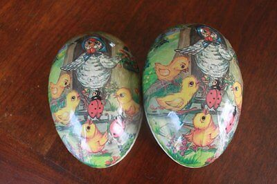 """Vintage Democratic Germany Paper Mache Easter Egg Chickens & Ladybugs 6"""" x 4"""""""