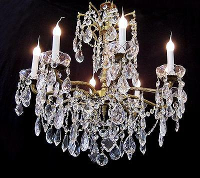 "VINTAGE 24"" x 28"" CRYSTAL BRASS 8 LIGHT CHANDELIER ~ FINE  LIGHTING From SPAIN"