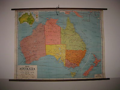 UK PHYSICAL AUSTRALIA NEW ZEALAND SCHOOL MAP MAPPA CARTE KARTE BY PHILIPS' 1970s
