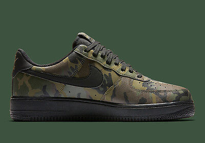 best website e9d98 3957f Nike Air Force 1 07 LV8 Camo Reflective Olive Black 3M 718152-203 Mens