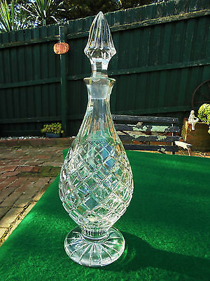 Vintage Bohemia Hand Cut Crystal Footed Tear Drop Decanter