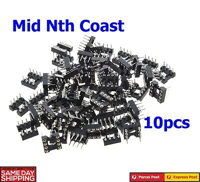 10 x Plastic Metal Black 8 Round Pin 2.54mm Pitch DIP IC Adaptor Sockets