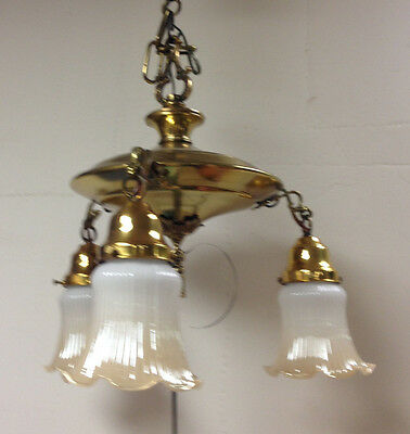 vintage 3 arm covered pan light fixture with glass shades - totally restored