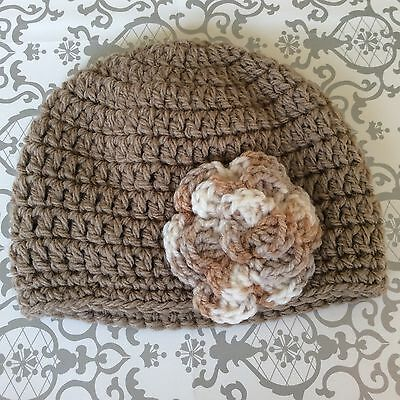 Taupe or tan crochet BABY CROCHET BEANIE  with 3 layer flower 0- 3 months