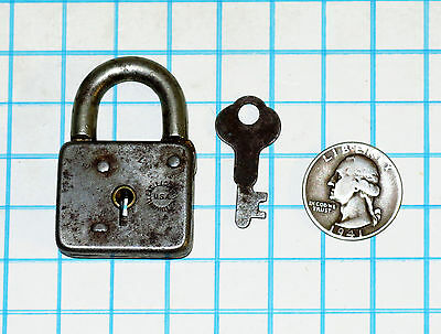 Genuine Vtg Antique Old Small Miniature Eagle Lock Co Iron Lever Padlock and Key