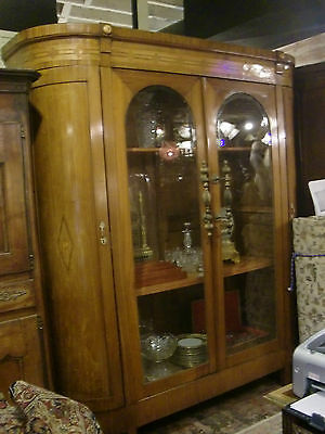 Antique Huge French  4 Door  Armoire Vitrine Showcase,curio Cabinet, Marquetry