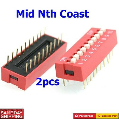 2 x Red Double Row 20 Pin 10P Positions DIP Switch 2.54mm Pitch