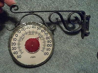Vintage Working Outdoor 1960's Era, Cooper  Wall Mount Thermometer, Free S/H
