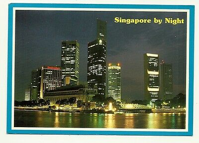Singapore - a larger format, photographic postcard of Singapore by night