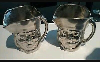 Pair of Antique Miniature Toby Jugs Silver Plated Sheffield