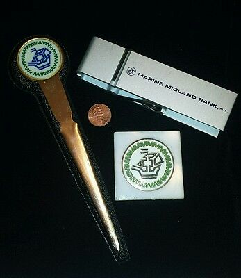 Marine Midland Bank Lot Marble Paperweight Italy Metal Clip Letter Opener Case
