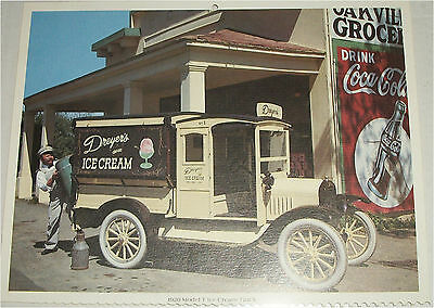 1920 Ford Model T Ice Cream truck print (yellow)