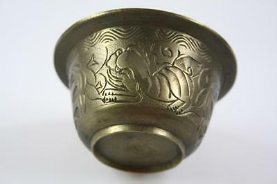 Vintage Chinese Brass Engraved Lion Pattern Rimmed Bowl