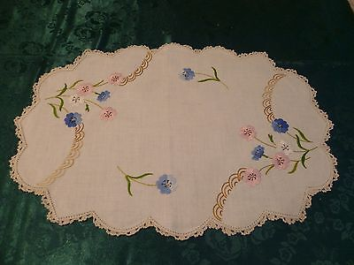 Vintage Hand Embroidered Pink And Blue Floral  Large Doiley Cream Crocheted Edge