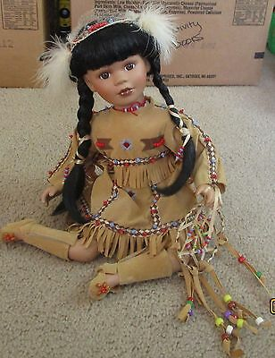 """Collections Sitting Native American Indian Girl dream catcher 10"""" porcelain doll"""
