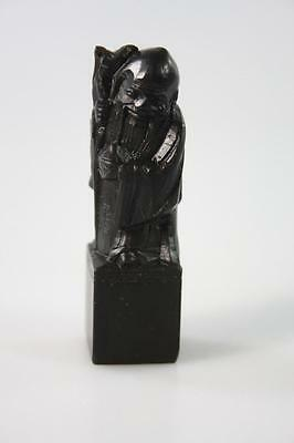 CHINESE VINTAGE HAND CARVED 'LONGETIVITY GOD' SOAPSTONE STAMP in box