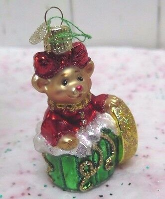 OLD WORLD  CHRISTMAS ORNAMENT - Mouse Popping out of Gift Box Merry Christmas