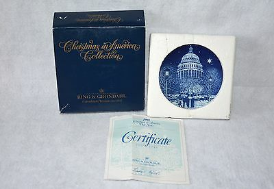 "Bing & Grondahl 1990 Christmas In America Plate ""Christmas Eve At The Capitol"""
