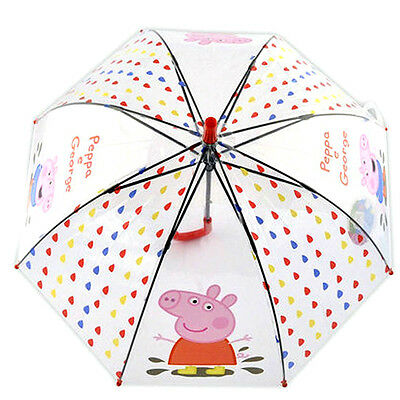 Kids Child DOME Blue Pink Bubble Umbrella Clear Transparent Peppa Pig George PVC