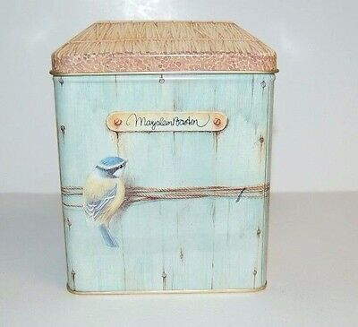 """Marjolein Bastin Collectible Tin 6"""" high x 4.5"""" x 3"""" Birds on wood Thatched roof"""