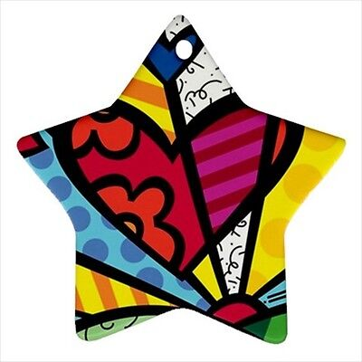 NEW Romero Britto for Star Ornament one side Free SHipping