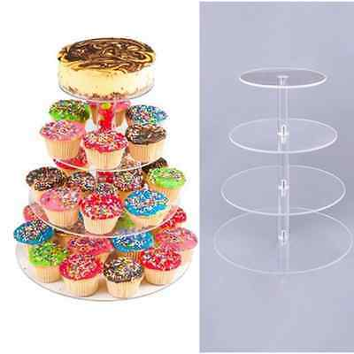 Round Acrylic 4 Tier Cupcake Cake Stand For Birthday Wedding Party Cake Display