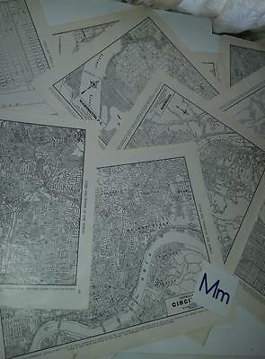 vintage paper lot 11 US city maps 1940's Geography book full page black & white