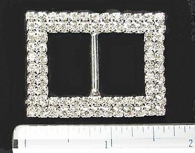 Irish Dance Crystal Shoe Buckles * Double Row Crystal Rectangle  *  Boxed