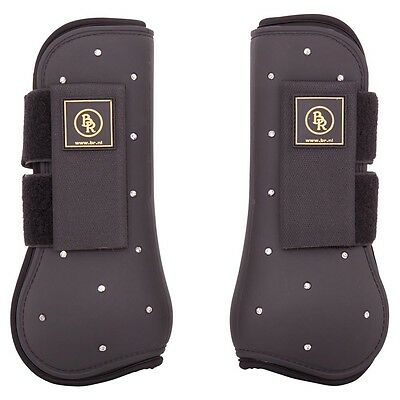 BR Equestrian Open Front Tendon Boots BLACK + BLING Full