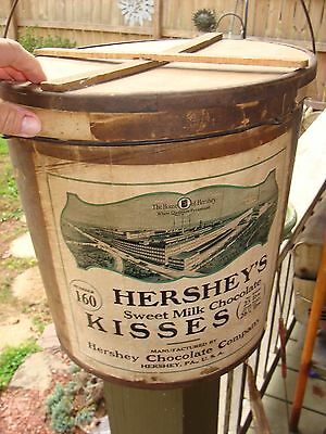 Rare Lg Antique Hershey's Kisses Factory Bucket Pail Advertising Hershey Pa Sign
