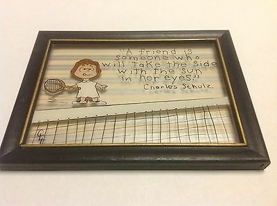 Peanuts Cororized Drawing On Glass Charles Schulz Tennis Quote