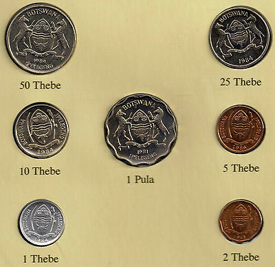 Uncirculated 1981 Botswana Coin Set, 1 Thebe to 1 Pula w/ 25t Stamp