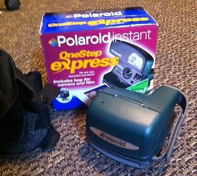 POLAROID One Step 600 Express  Instant Film Land Camera in BOX Tested NICE!!