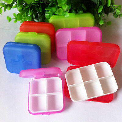4/6 Cells Portable Drug Tablet Storage Travel Case Medicine Compartment Box