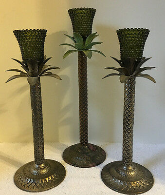 Votive Rich Avacodo Green Glass Hobnail Peg Candle Holder Cup Palm Tree Sticks